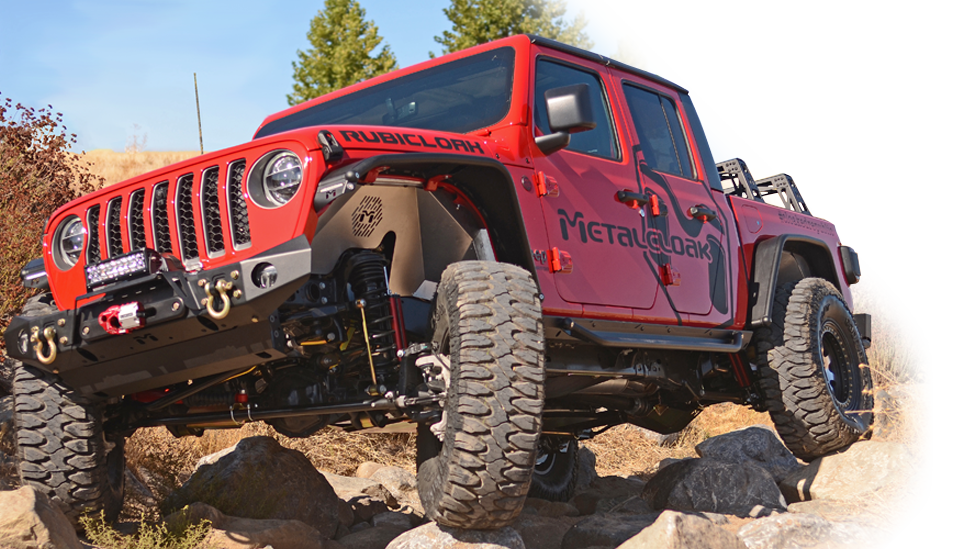 red MetalCloak Jeep JT Gladiator on rock trail