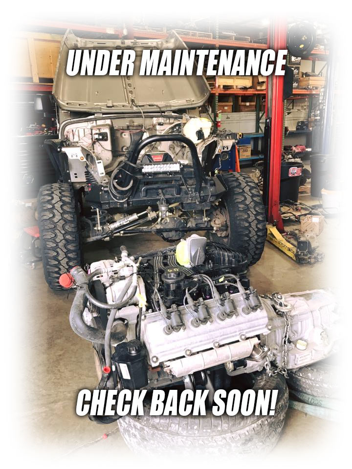 under maintenance message with jeep in repair